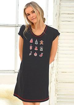 Holiday Print Sleepshirt product image (X41013-BK-01-S)