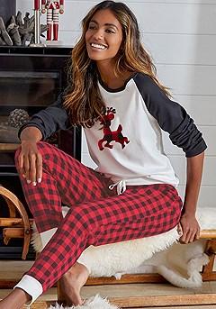 Reindeer Print Pajama Top product image (X41026.BKWH.X40045.MUPR.P)
