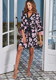Loose Side Tie Kimono product image (X43013BKRS_1)