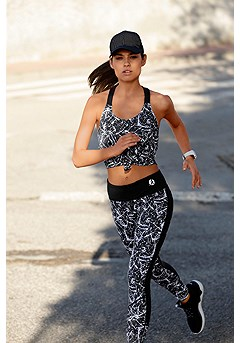 Racerback Workout Tank Top, Patterned Workout Pants product image (X45007_BKPR_X56014_2)