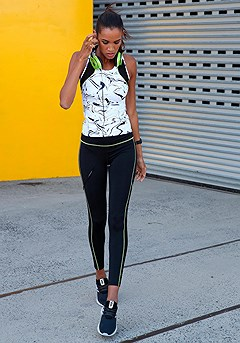 Marble Print Workout Tank Top, Side Detail Workout Pants product image (X45014.WHPR.X56026.BKNE.09)