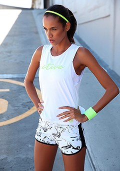 Marble Print Workout Shorts, Flowy Workout Top product image (X45017.WHNE.X56022.WHPR.05)