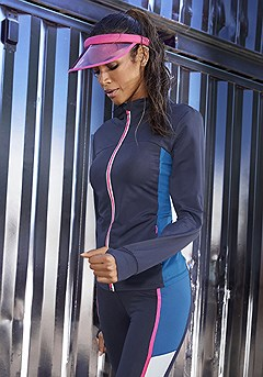 Color Block Workout Jacket product image (X45020-NV-000-S)