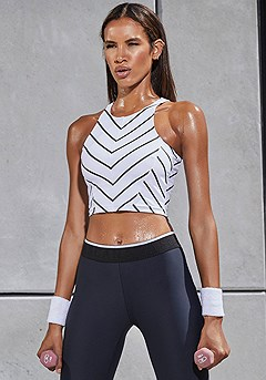 Chevron Pattern Workout Crop Top product image (X45023-BKWH-001-S)