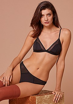 Mesh Detail Bralette, Mesh Panel Thong product image (X46010-BK-00-and-X05069-BK-00-1S)