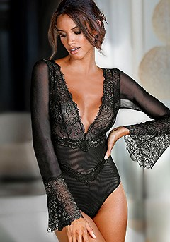 Bell Sleeve Sheer Lace Teddy product image (X47022-BK-00)