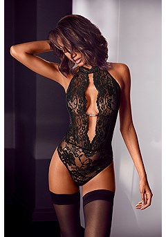 Cut Out Lace Teddy product image (X47049BK_1)