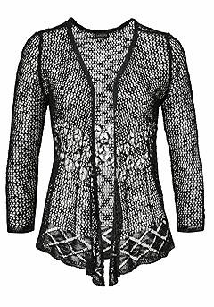 Sheer Open Cardigan product image (X48007BK_01)