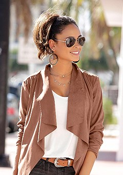 Suede Look Flowy Jacket product image (X48009.CG.00)