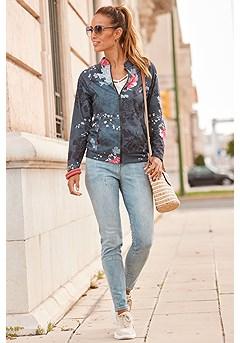 Floral Zip Up Jacket product image (X48010-BKMU_X38172-DE)