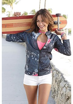Floral Zip Up Jacket product image (X48010.BKMU.P10)