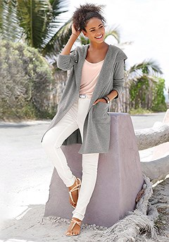 Long Hooded Fleece Cardigan product image (X48011-GY-00)