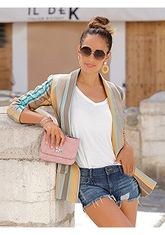 Frayed Hem Shorts, Single Button Blazer product image (X48034MSTR_and_X37036DE_1)
