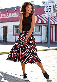 Pleated Chevron Print Skirt product image (X50012-BKRD-00)