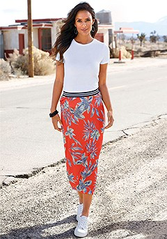 Tropical Print Midi Skirt product image (X50014-RDPR-000-S)