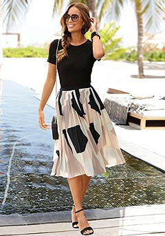 Graphic Print Pleated Midi Skirt product image (X50034MUPR_1)
