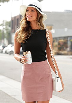 Suede Zip Mini Skirt product image (X50035.RS.X33087.BKWH)