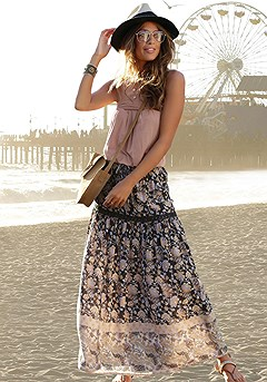Floral Boho Maxi Skirt product image (X50036GYPR2)