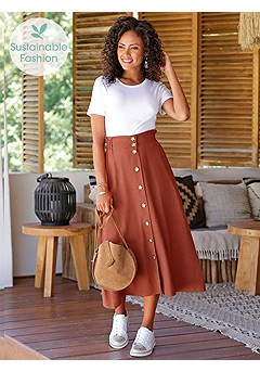 Button Front Midi Skirt, 2 Pk Short Sleeve Tops product image (X50039.RD_I)