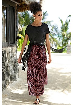 Strappy Back Short Sleeve Top, Animal Print Maxi Skirt product image (X50041ZE)