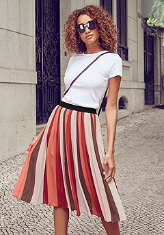 Striped Pleated Skirt product image (X50042MSTR_1)