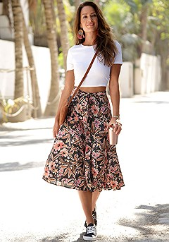 Button Up Floral Midi Skirt product image (X50045.BKPR.1)