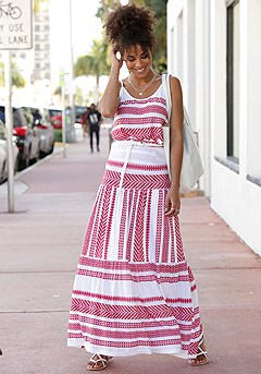 Multi Stripe Maxi Skirt product image (X50046.RDMU.1)