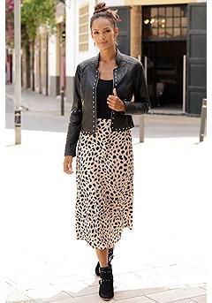 Studded Faux Leather Jacket, Animal Print Midi Skirt