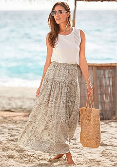 Tiered Leopard Maxi Skirt, Sleeveless Rivet Detail Top product image (X50058TP_1)