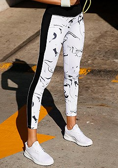 Marble Print Workout Crop Top, Side Detail Workout Pants product image (X56026.WHPR.00)