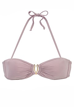 Ruched Bandeau Bikini Top, Ruched Mid Rise Bikini Bottom product image (X58016.ODRS.X59016.ODRS.PC)
