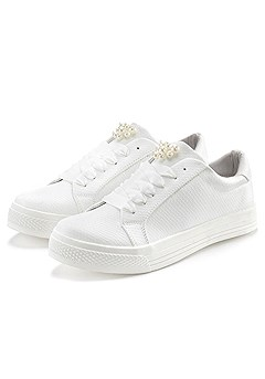 Pearl Embellished Sneakers product image (X60005.WH.CP)