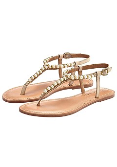 Pearl Bead Accent Sandals product image (X60021-NU-00)