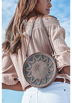 Woven Sun Round Bag product image (X63013BKBR_1)