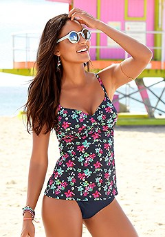 Floral Print Tankini Top, Fiesta Classic Bikini Bottom product image (_X26027_-NVPR-K)