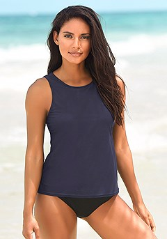 Basic Tankini Top, High Waisted Bikini Bottom product image (x15021-nv-kk)