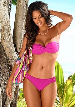 Twist Bandeau Bikini Top, Strappy Classic Bikini Bottom product image (x22020.PK_5)