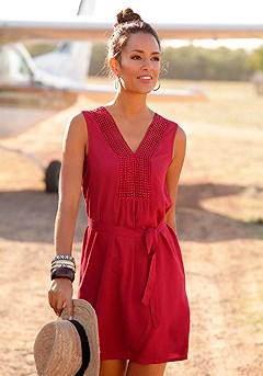 Crochet Detail Tie Waist Dress product image (x29144.RD.001-S)