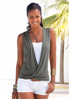 Sleeveless Wrap Look Top product image (x33026-ol)