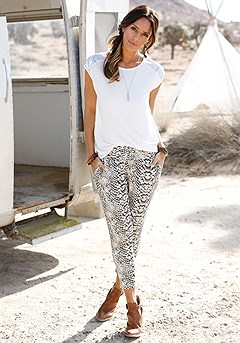 Sequin Detail Top, Animal Print Cropped Pants product image (x34150-S)