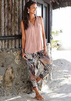 Tie Front Sleeveless Top, Animal Print Capris product image (x38035.k)